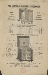 Advert for the Atmospheric Churn Company, refrigerators